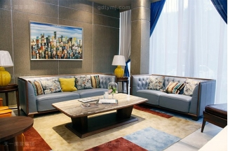 高端轻奢自然主义风格万博手机网页客厅实木真皮沙发组合