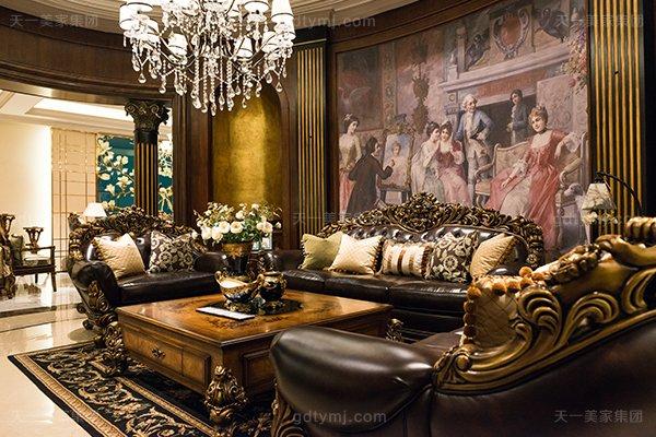高端奢华美式家具客厅名贵实木雕花沙发洛克红真皮沙发组合