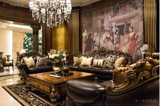 高端奢华美式家具客厅顶级实木雕花沙发洛克红真皮沙发组合