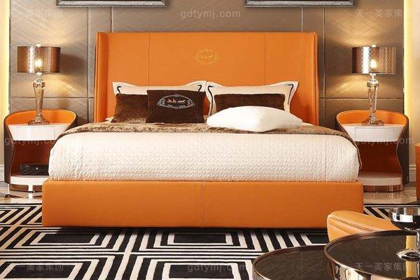 高端后现代风轻奢卧室家具橙色皮桃木纹饰板真皮寝室床组合床