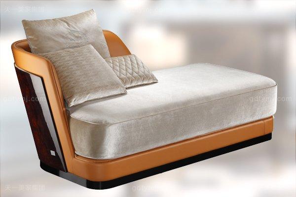 高端后现代风轻奢卧室家具橙色皮桃木纹饰板真皮卧室床组合贵妃椅