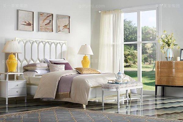 高端简美轻奢大床实木卧室双人床高端真皮珍珠白大床系列