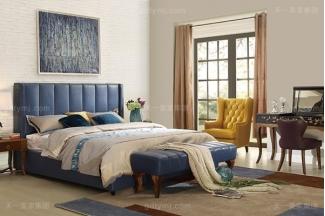 高端轻奢家具自然主义风格卧室实木真皮深蓝色软包大床系列
