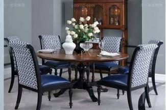 高端小美式轻奢万博手机网页客厅餐桌白腊实木餐桌真皮布艺餐椅组合