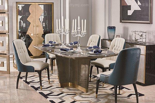 高端轻奢现代餐桌实木餐厅餐椅灰色木皮拼花贴箔餐桌椅组合