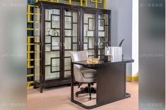 高端简奢美式自然主义风书房家具实木深咖色书桌真皮书椅组合