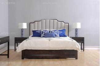 高端简奢美式风格卧室万博手机网页大床实木深咖色双人床组合