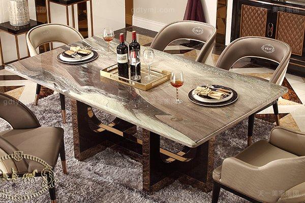 名贵后现代轻奢家具客厅餐桌椅山水紫石面餐桌拉丝纹真皮餐椅餐桌