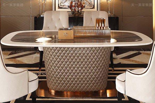 名贵后现代轻奢万博手机网页客厅餐桌椅山水紫拼面板餐桌白色绒布拉点餐椅餐桌