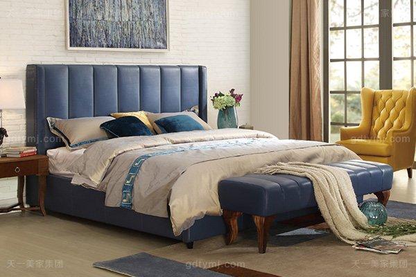 高端轻奢家具自然主义气势派头寝室实木真皮深蓝色软包大床系列床