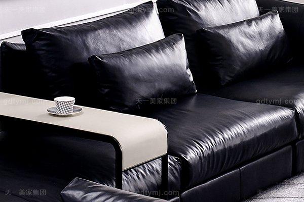 意大利极简奢当代风家具客堂沙发玄色真皮转角沙发组合单人位直背沙发