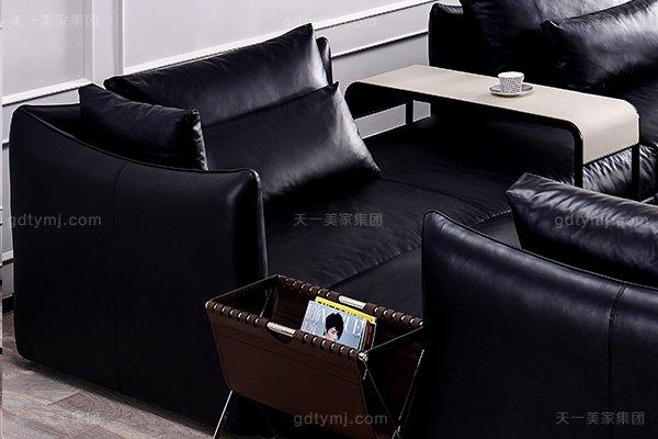 意大利极简奢当代风家具客堂沙发玄色真皮转角沙发组合二人位左转角沙发
