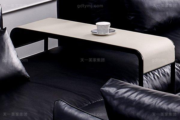 意大利极简奢当代风家具客堂沙发玄色真皮转角沙发组合长边几