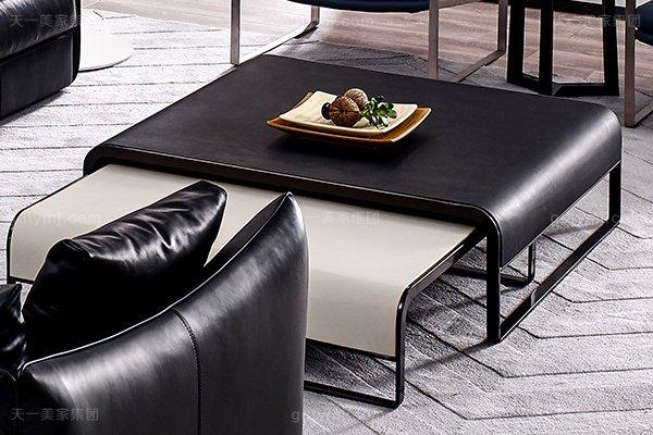 意大利极简奢当代风家具客堂沙发玄色真皮转角沙发组合长方几