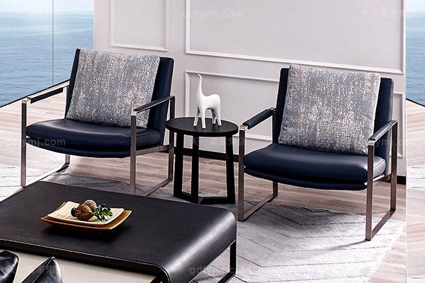 意大利极简奢当代风家具客堂沙发玄色真皮转角沙发组合休闲椅