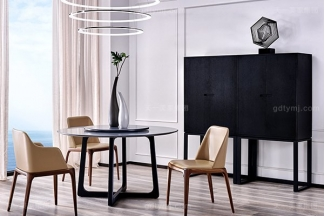 意大利极简奢现代风家具餐厅名贵木饰面餐桌真皮软包餐桌椅组合