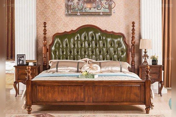 高端别墅万博手机网页好实木头层黄牛皮美式1.8米大床