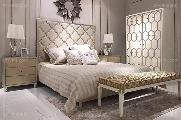 高端简约新古典万博手机网页卧室银色大床系列组合