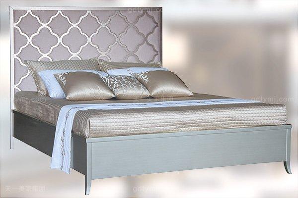 高端简约新古典万博手机网页卧室银色大床系列组合床
