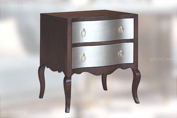 高端简约新古典万博手机网页卧室银色大床系列组合床头柜
