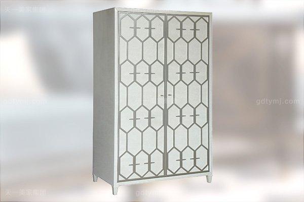 高端简约新古典万博手机网页卧室银色大床系列组合两门衣柜