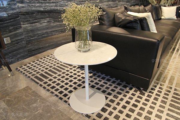 意式极简奢家具当代客堂进口桦木茶几真皮软客堂包沙发组合小圆几