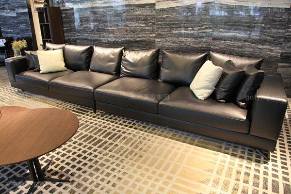 意式极简奢家具当代客堂进口桦木茶几真皮软客堂包沙发组合阁下扶手多位沙发