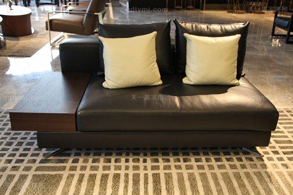 意式极简奢家具当代客堂进口桦木茶几真皮软客堂包沙发组合双人位沙发+扶手箱