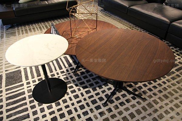 意式极简奢家具当代客堂进口桦木茶几真皮软客堂包沙发组合圆茶几一套