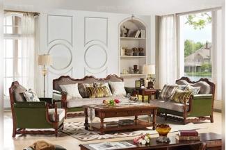高端豪宅万博手机网页1+2+3橡胶木好实木头层黄牛皮配布艺美式休闲沙发