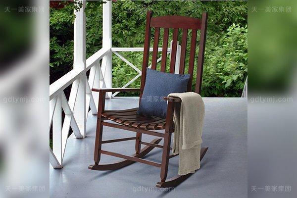 别墅休闲家具优质橡胶木好实木阳台舒适摇椅