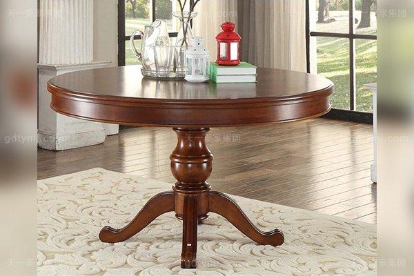 别墅豪宅家具高端橡胶木好实木圆餐桌1.2M