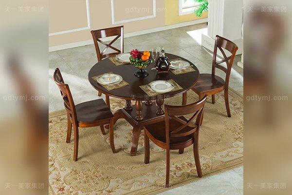 品牌别墅家具高端好实木美式露木色圆餐桌1.2M