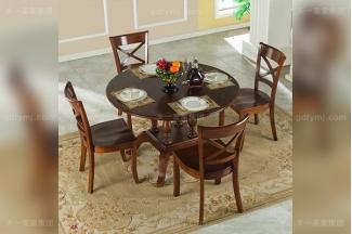 品牌别墅万博手机网页高端好实木美式露木色圆餐桌1.2M