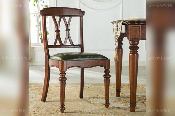 别墅豪宅家具品牌高端好实木头层黄牛皮美式餐椅