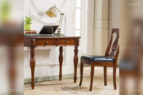 别墅豪宅家具品牌高端好实木露木色美式小书桌
