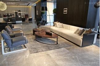 意式极简奢高端万博手机网页现代客厅真皮布艺转角沙发组合