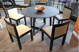 意大利简奢风现代别墅家具客厅真皮实木餐桌椅组合