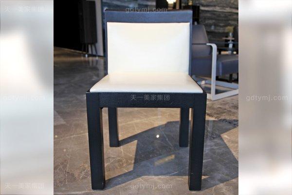 意大利简奢风现代别墅万博手机网页客厅真皮实木餐桌椅组合餐椅