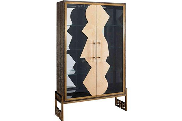 高端轻奢现代餐桌实木餐厅餐椅灰色木皮拼花贴箔餐桌椅组合酒柜