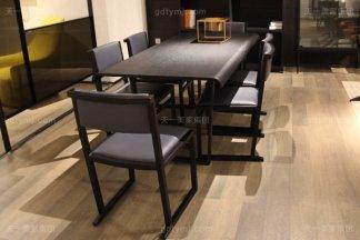 意大利极简奢高端餐厅实木真皮家具组合