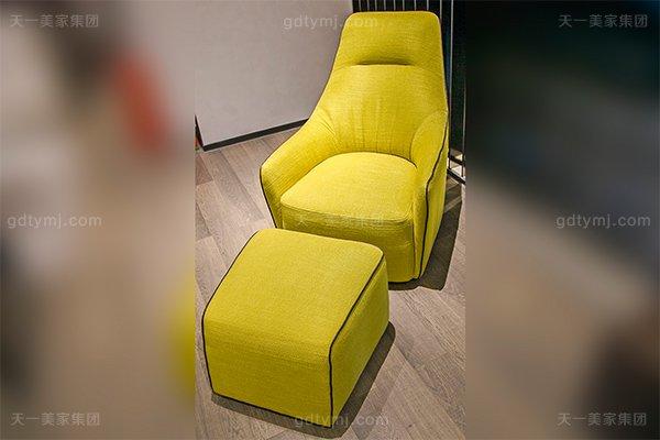 意式极简奢高端别墅橙色休闲椅