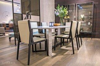 意大利极简奢高端实木真皮餐桌椅家具组合