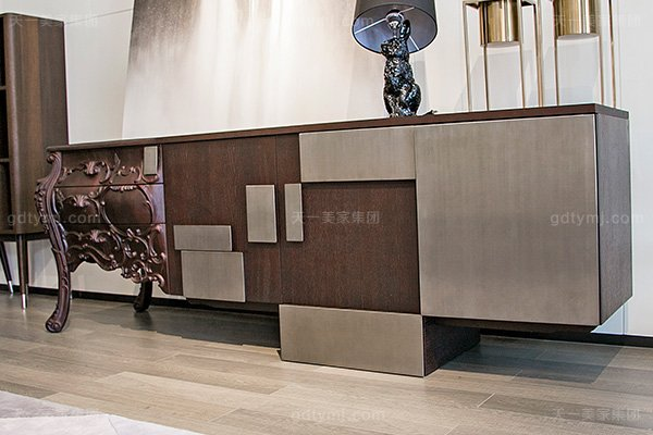 意大利极简奢高端别墅实木雕花家电视柜组合