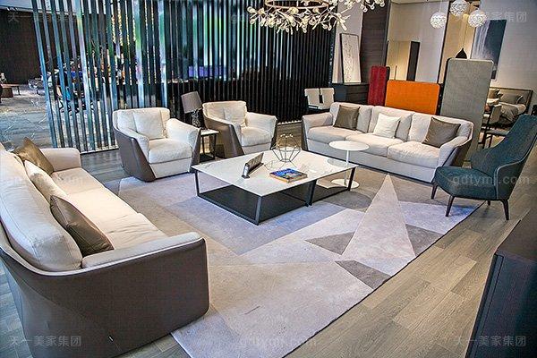 意大利极简奢高端真皮+布艺客厅家具组合客厅沙发+茶几组合
