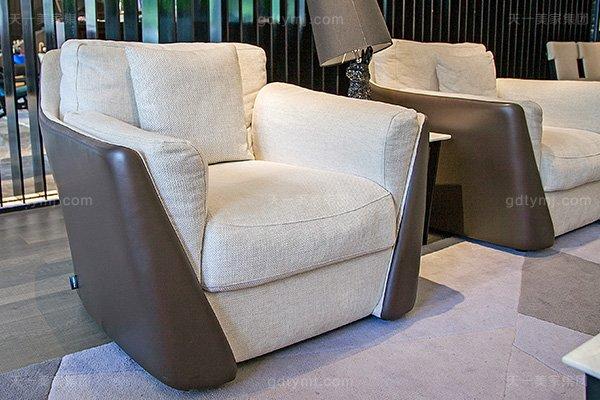 意大利极简奢高端真皮+布艺客厅家具组合单人位沙发