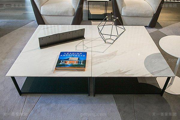 意大利极简奢高端真皮+布艺客厅家具组合长方几