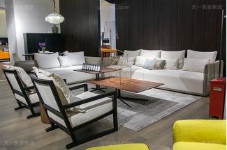 意大利极简奢高端真皮+布艺客厅家具组合
