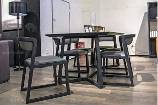 意大利极简奢高端实木真皮餐桌椅万博手机网页组合