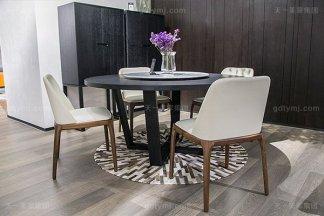 必发88客户端极简奢高端实木真皮餐桌椅家具组合
